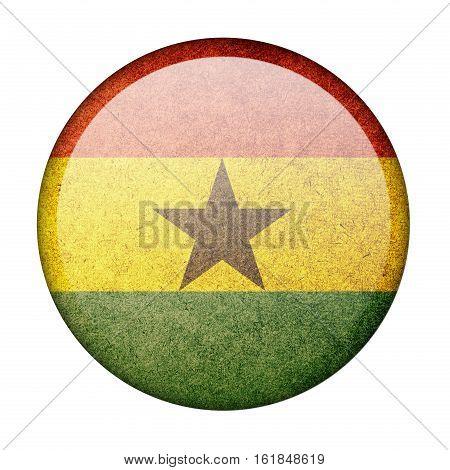 Ghana button flag  isolate  on white background,3D illustration.
