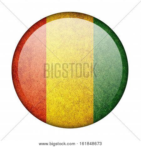 Guinea button flag  isolate  on white background,3D illustration.