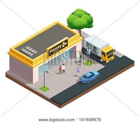 Beekeeping apiary isometric composition of honey shop building with visitors and workers unloading goods vector illustration