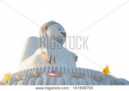 Perspective view from below of the popular Big Buddha on Nakkerd hills of Ao Chalong in Phuket, Thailand. Symbol of peace and spirituality. Side view. Isolated on white background.