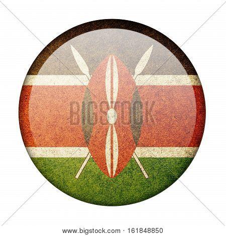 Kenya button flag  isolate  on white background,3D illustration.