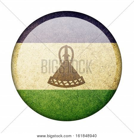 Lesotho button flag  isolate  on white background,3D illustration.