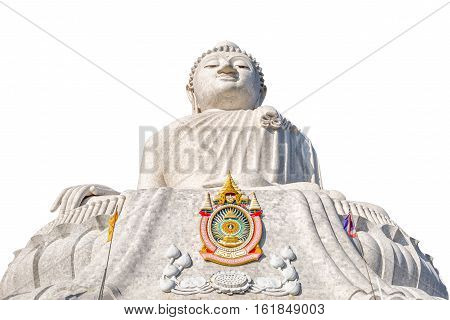 The Big Buddha isolated on white background, front view. Nakkerd hills in Ao Chalong, Phuket, Thailand. Phuket's Big Buddha is one of the island's most important and revered landmarks on the island.