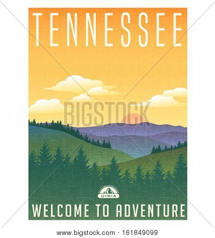 Tennessee, United States travel poster or luggage sticker. Scenic illustration of the Great Smoky Mountains with pine trees and sunrise.