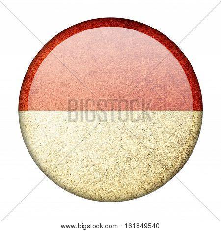 Monaco button flag  isolate  on white background,3D illustration.