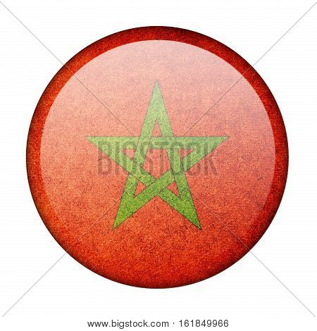 Morocco button flag  isolate  on white background,3D illustration.
