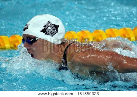 Hong Kong China - Oct 30 2016. Competitive swimmer Katinka HOSSZU (HUN) swimming in the Women's Butterfly 200m Preliminary Heat. FINA Swimming World Cup Victoria Park Swimming Pool.