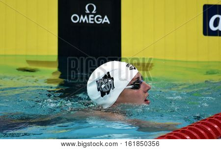 Hong Kong China - Oct 30 2016. Competitive swimmer Katinka HOSSZU (HUN) after the Women's Butterfly 200m Preliminary Heat. FINA Swimming World Cup Victoria Park Swimming Pool.