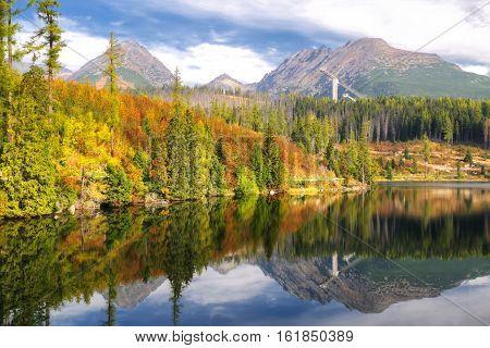 Beautiful landscape - tarn Strbske pleso in High Tatras mountains Slovakia