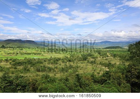 Valley landscape with mountains in the background in Lam Dong area Vietnam