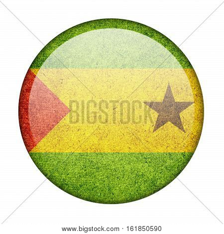 Sao Tome and Principe button flag  isolate  on white background,3D illustration.