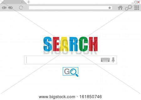 Flat style browser window. Search engine. Vector stock illustration