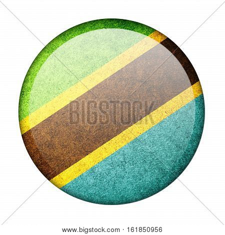 Tanzania button flag isolate on white background