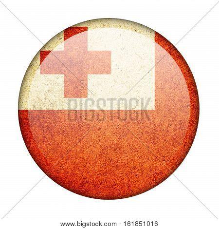 Tonga button flag isolate on white background