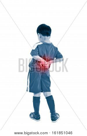 Back pain. Athlete asian boy standing and rubbing the muscles of his lower back isolated on white background. Color increase blue skin and red spot indicating location of pain. Studio shot.