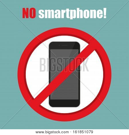 No smartphone sign in a flat design. Vector illustration
