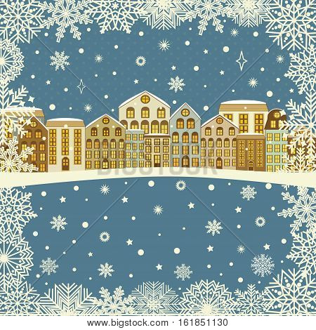 Christmas greeting card with houses in winter