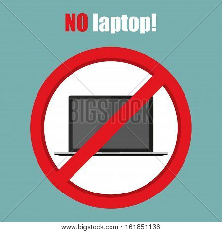 No laptop sign in a flat design. Vector illustration