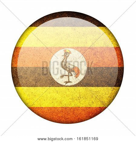 Uganda button flag isolate on white background