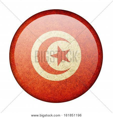Tunisia button flag isolate on white background
