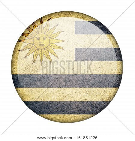 Uruguay button flag isolate on white background