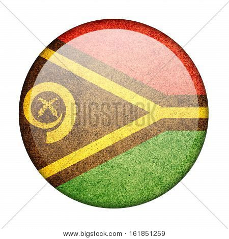 Vanuatu button flag isolate on white background
