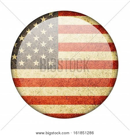 The United States button flag isolate on white background