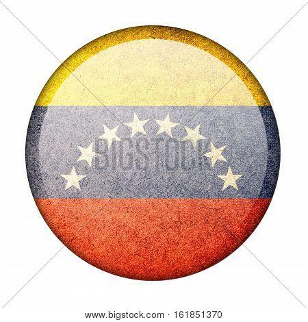 Venezuela button flag isolate on white background