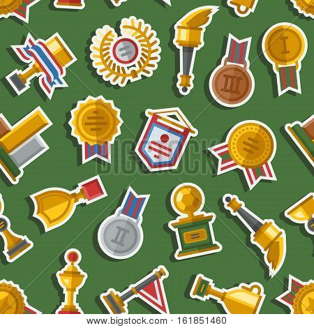 Seamless pattern with trophy and awards. Medallion achievement minimalism sign prize shield background. Texture gold cup cover wrapping wallpaper.