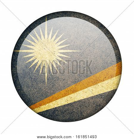 Marshall Islands button flag isolate on white background