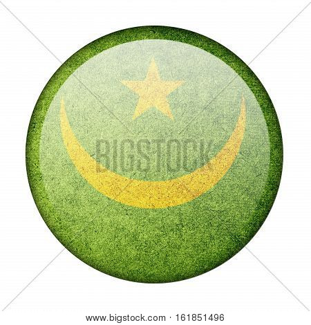 Mauritania button flag isolate on white background