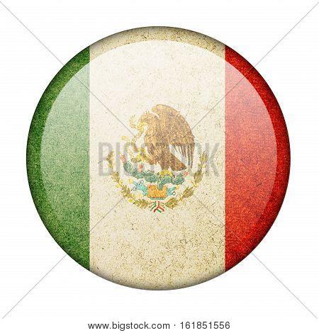 Mexico button flag isolate on white background