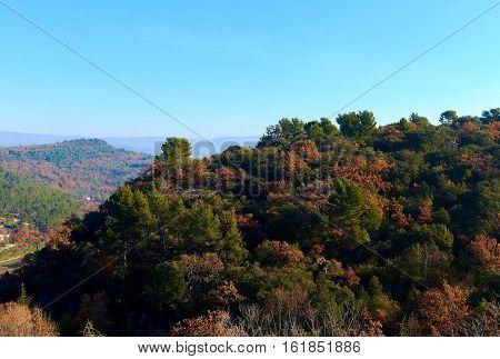 Landscape near Venasque village. Provence-Alpes-Cote d'Azur region in southeastern France