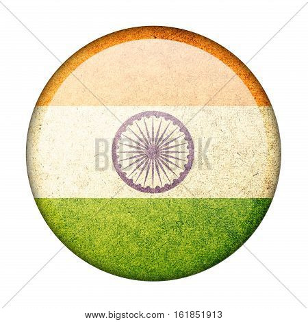 India button flag isolate on white background
