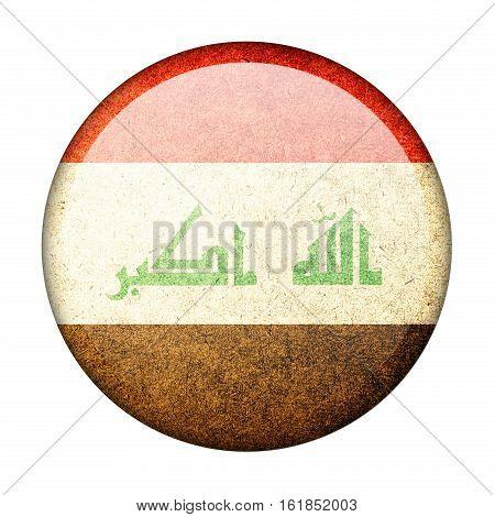 Iraq button flag isolate on white background