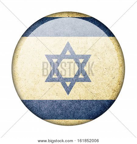 Israel button flag isolate on white background