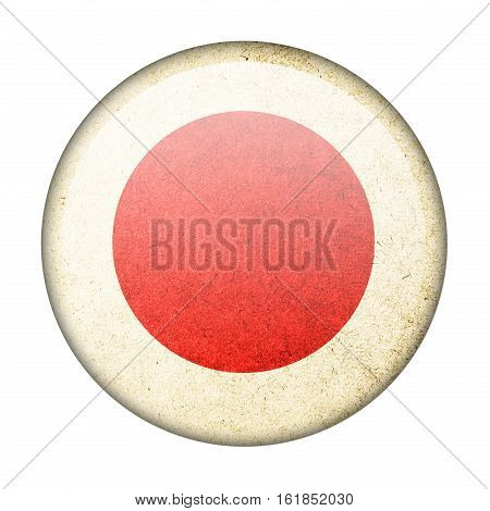 japan button flag isolate on white background