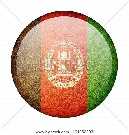 Afghanistan button flag isolate on white background