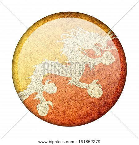 Bhutan button flag isolate on white background
