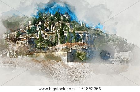 Digital watercolor painting of La Roque-sur-Ceze village in France..