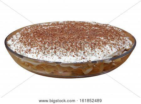 Tiramisu cake on the dish isolated on white with Clipping Path
