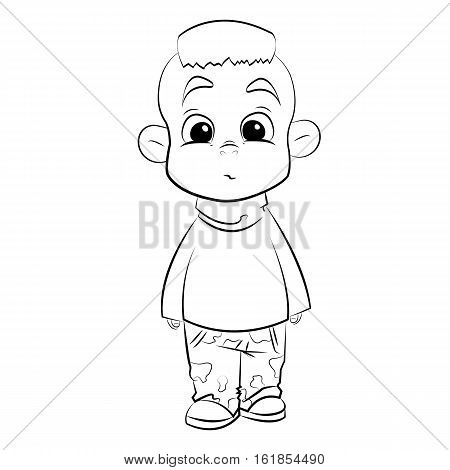 cute cartoon character boy with millitary pants, lineart, handdraw