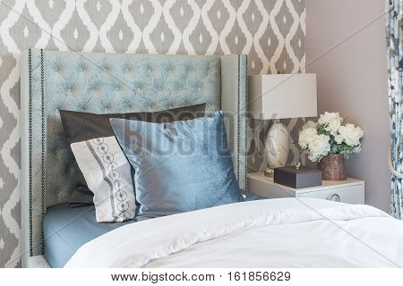 Luxury Bedroom With Classic Single Bed And Set Of Pillows