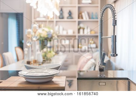 Modern Faucet Sink In Pantry With Luxury Dining Room