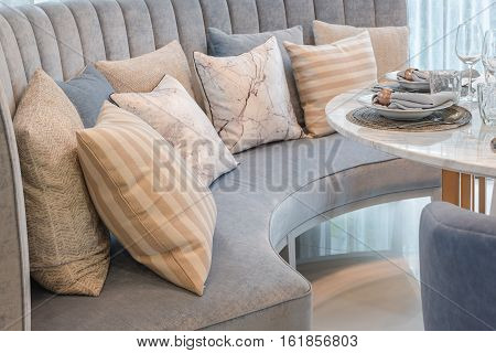 Table Set On Round Table Dining In Luxury Dining Room