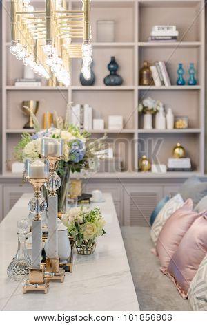 Luxury Table Set On Dinnig Table In Dining Room