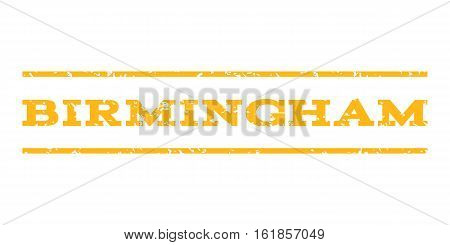 Birmingham watermark stamp. Text tag between horizontal parallel lines with grunge design style. Rubber seal stamp with scratched texture. Vector yellow color ink imprint on a white background.