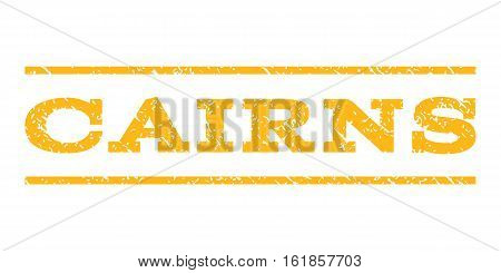 Cairns watermark stamp. Text caption between horizontal parallel lines with grunge design style. Rubber seal stamp with dust texture. Vector yellow color ink imprint on a white background.