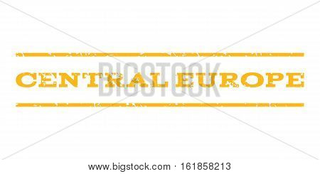 Central Europe watermark stamp. Text caption between horizontal parallel lines with grunge design style. Rubber seal stamp with unclean texture. Vector yellow color ink imprint on a white background.