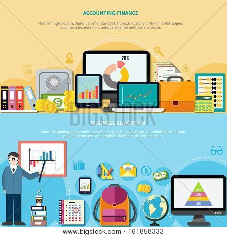 Two horizontal banners with business education and accounting finance design concepts composed from office elements flat vector illustration
